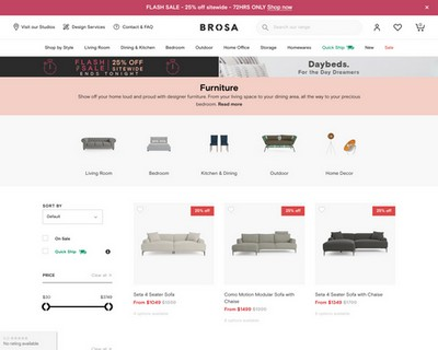 72 Hour Flash Sale, Ends Today - Brosa Furniture