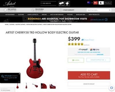 Artist CHERRY58 TRD Hollow Body Electric Guitar is Back! - Artist Guitars