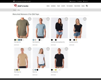 Mens And Womens 2 For $50 Tops |  Rip Curl - Rip Curl