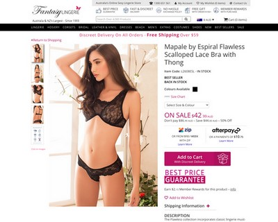 ON SALE: 50% OFF Scalloped Lace Bra with Thong at  Fantasy Lingerie - Fantasy Lingerie