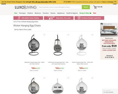 SALE   $100 Off New Wicker Hanging Egg Chairs - Luxo Living